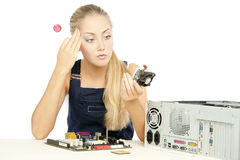 Computer Repair Engineer. Blonde girl Stock Image