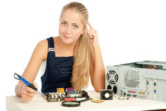 Computer Repair Engineer. Blonde girl Stock Photo