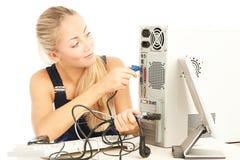 Computer Repair Engineer. Blonde girl Stock Image