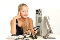 Computer Repair Engineer. Blonde girl Stock Images