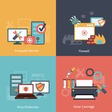 Computer repair flat icons composition Stock Photo