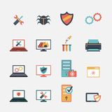 Computer repair flat icons set Stock Images