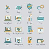 Computer repair flat line icons set Royalty Free Stock Images
