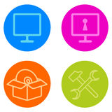 Computer Repair  icon set in line style Stock Image