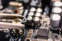 Computer repair, installation motherboard Royalty Free Stock Photography