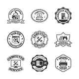 Computer repair labels icons set. Computer software virus control and peripheral devices repair professional quality service labels set black  isolated vector Stock Photo