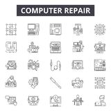 Computer repair line icons for web and mobile design. Editable stroke signs. Computer repair outline concept. Computer repair line icons for web and mobile royalty free illustration