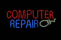 Computer Repair Neon Sign Stock Photography