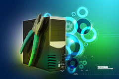 Computer repair service concept. In color background Royalty Free Stock Photos