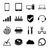Computer repair service icons set monochrome Stock Images