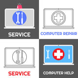 Computer repair service. Laptop help icon set Stock Images