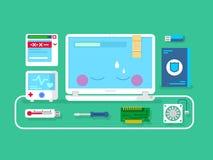 Computer repair. Computer service, setting maintenance and diagnostic, flat vector illustration Stock Image