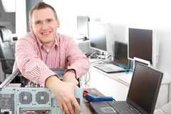 Computer repairman Stock Photo