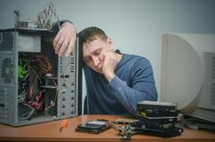 Computer repairman. Computer technician engineer. Support service. Royalty Free Stock Photography