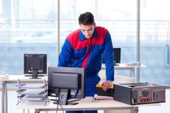 The computer repairman specialist repairing computer desktop. Computer repairman specialist repairing computer desktop Royalty Free Stock Photos