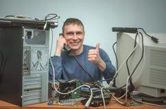 Computer repairman. Computer technician engineer. Support service. stock photography