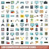 100 computer review icons set, flat style. 100 computer review icons set in flat style for any design vector illustration Royalty Free Illustration