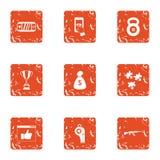 Computer reward icons set, grunge style. Computer reward icons set. Grunge set of 9 computer reward vector icons for web isolated on white background Royalty Free Stock Image