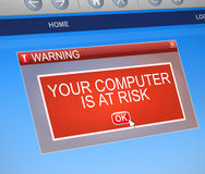 Computer at risk concept. Illustration depicting a computer dialog box with a security threat concept Royalty Free Stock Photos