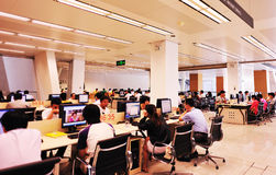 Computer room. People surf net interior of computer room at shenzhen library, shenzhen city, china august 17, 2012 Royalty Free Stock Photo