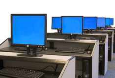 Computer room - blue screens Stock Photo