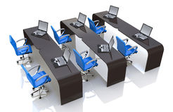 Computer room. In the design of the information related to meetings and training Stock Photos