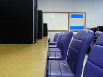 Computer room. In university laptop chair table case rooms lab purple black Stock Image