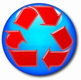 Computer round icon with recycle symbol Stock Photo