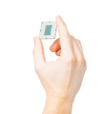 Computer's processor in hand isolated on a white background Stock Photography
