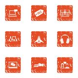 Computer sale icons set, grunge style. Computer sale icons set. Grunge set of 9 computer sale vector icons for web isolated on white background Stock Photo