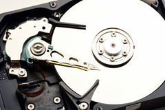 Computer sata hard disk drive disassembled closeup Royalty Free Stock Images