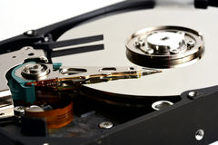 Computer sata hard disk drive internals close up Royalty Free Stock Photo