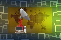 Computer With Satellite Communication illustration Stock Image