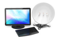 Computer and satellite dish Stock Image
