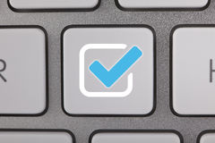 Computer-Schlüssel-Kontrolle Mark Blue Icon Stockfotografie