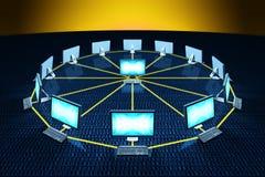 Computer schließen in Verbindung stehende Daten des Netzes an stock abbildung