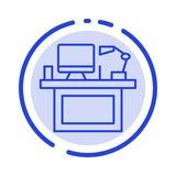 Computer, Schreibtisch, Desktop, Monitor, Büro, Platz, Linie Ikone der Tabellen-blauen punktierten Linie stock abbildung