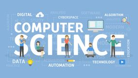 Computer science concept. Computer science concept illustration. Idea of coding Royalty Free Stock Images
