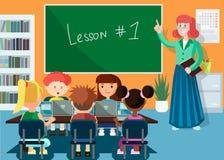 Computer Science Lesson. Vector Flat Illustration. stock illustration