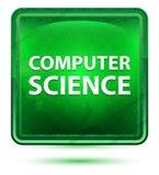 Computer Science Neon Light Green Square Button vector illustration