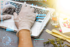 Computer for science research of medicine.. Stock Photo