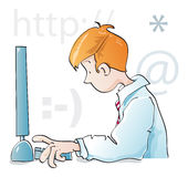 Computer science student. Young guy working with computer Royalty Free Stock Photo