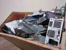 Computer scrap. A container with computer scrap recyclables Stock Images