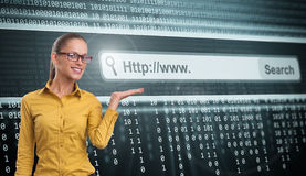 Computer Screen With Address Bar. Beautiful Woman and Computer Screen With Address Bar Stock Photography