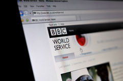 Computer screen with BBC World Service page Stock Photo