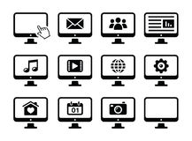 Computer screen black icons set Royalty Free Stock Photos