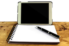 Computer screen,book and pen Stock Image