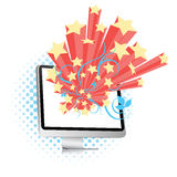 Computer Screen Burst. Vector illustration of a computer screen with retro bursting stars isolated on a white background Stock Photo