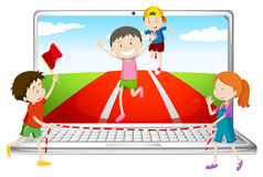 Computer screen with children running in race Stock Photo