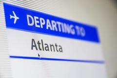 Computer screen close-up of flight to Atlanta. Computer screen close-up of status of flight departing to Atlanta, Georgia, USA Royalty Free Stock Photos